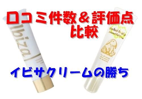 イビサクリームとハーバルラビットの口コミ件数と評価点はイビサクリームの勝ち